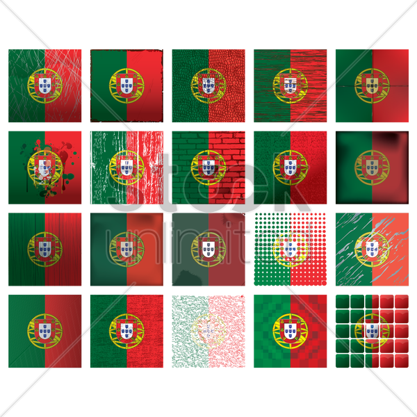 collection of portugal flag backgrounds vector graphic