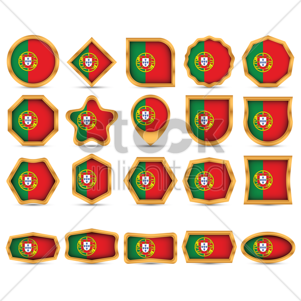 collection of portugal flag icons vector graphic