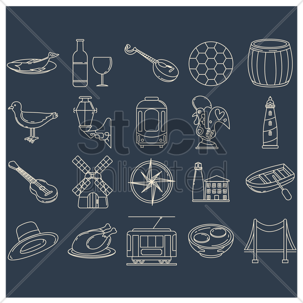 collection of portugal icons vector graphic