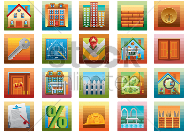 collection of property related icons vector graphic