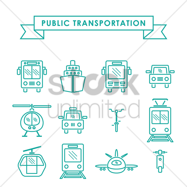 collection of public transportation vector graphic