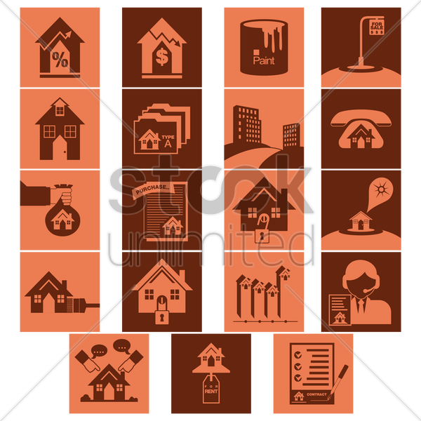 collection of real estate related objects vector graphic