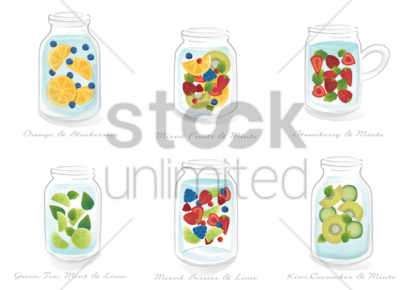 collection of refreshing drinks in a jar vector graphic