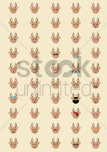collection of reindeer emoticons vector graphic