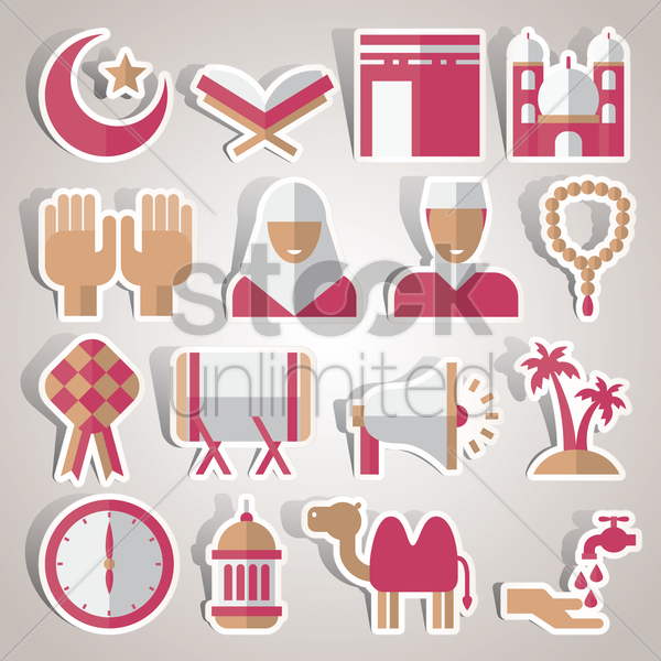 collection of religious related objects vector graphic