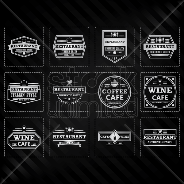 collection of restaurant labels vector graphic