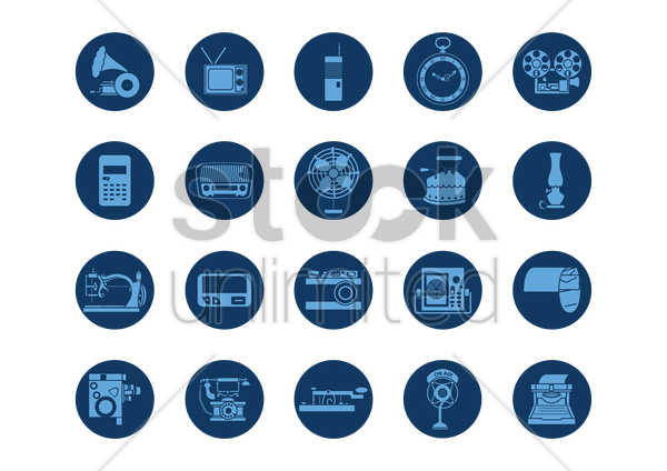 collection of retro icons vector graphic