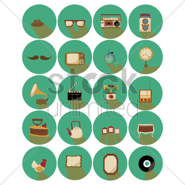 collection of retro vintage related icons vector graphic