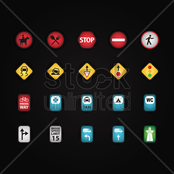 collection of road sign vector graphic