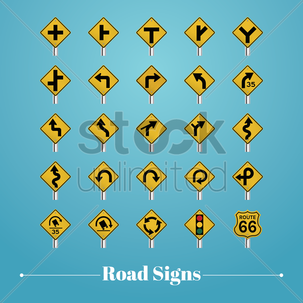 collection of road signboards vector graphic