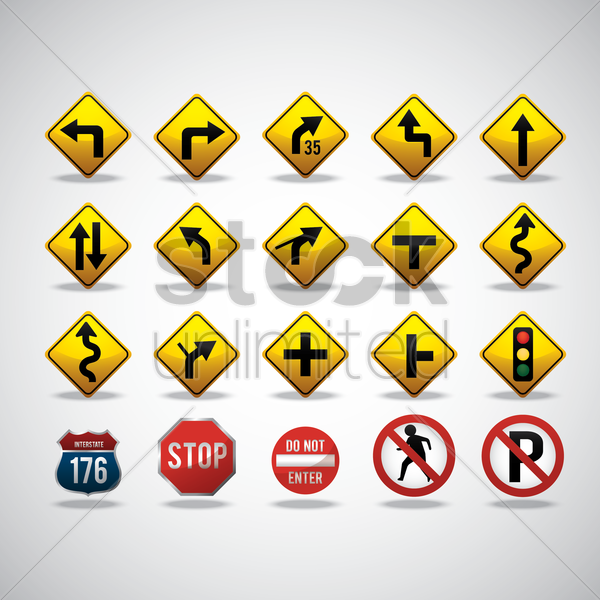 collection of road signs vector graphic