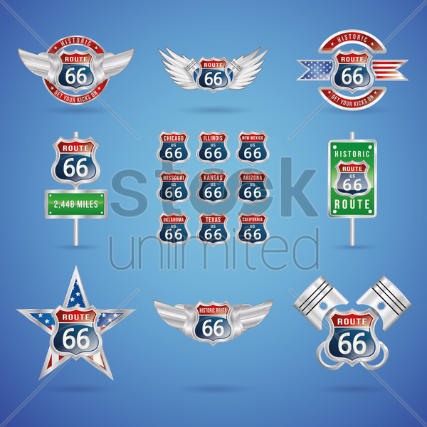 collection of route 66 badges vector graphic