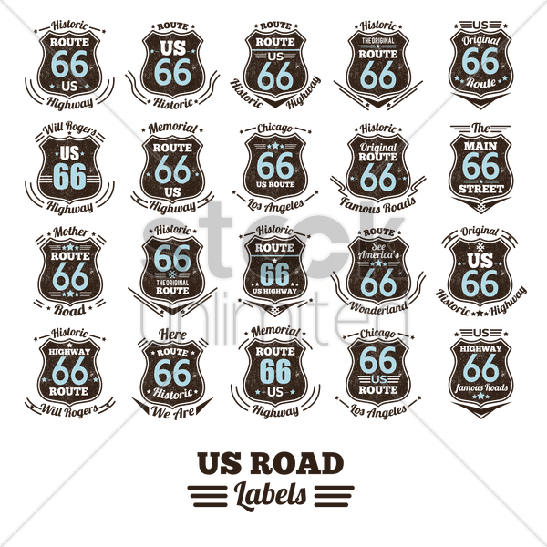 collection of route 66 labels vector graphic