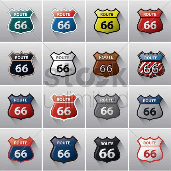 collection of route 66 road signs vector graphic