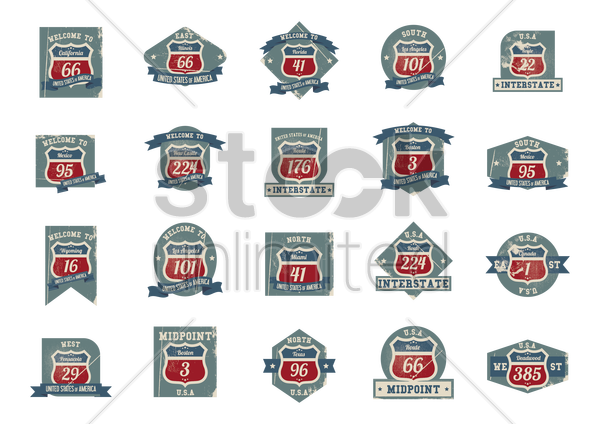 collection of route labels vector graphic