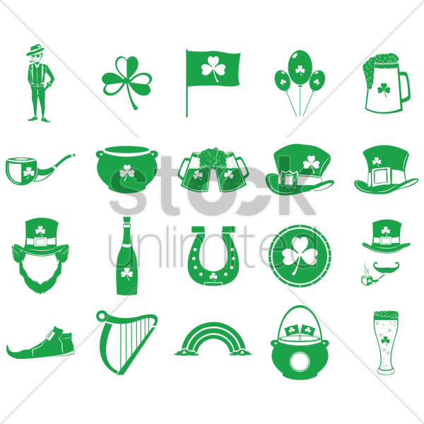collection of saint patrick's day icons vector graphic
