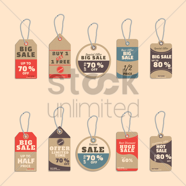 collection of sale tags vector graphic