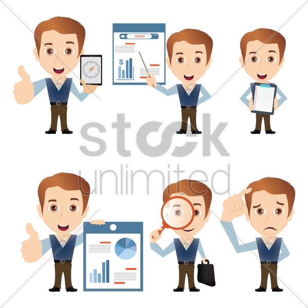 collection of salesman figures vector graphic