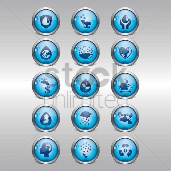Free collection of save water icons vector graphic