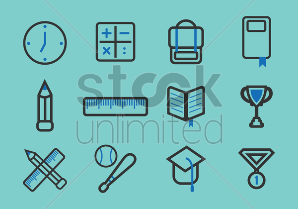 collection of school icons vector graphic