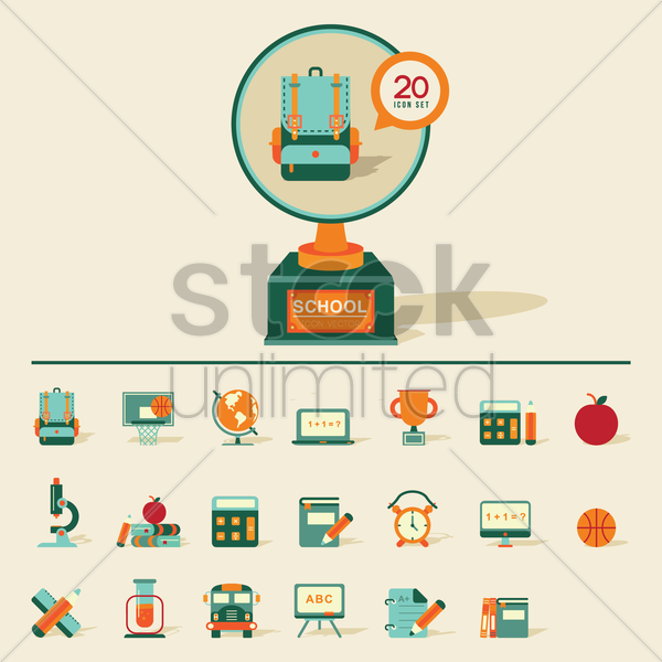 Free collection of school icons vector graphic