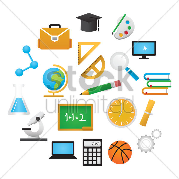 collection of school supplies vector graphic