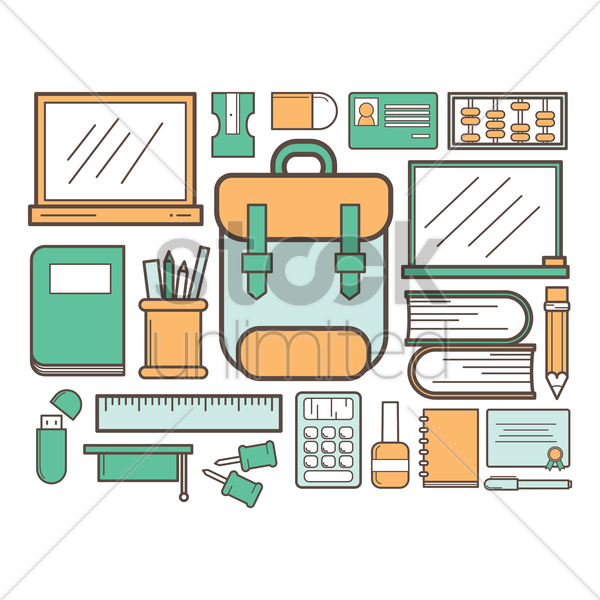 collection of school supply vector graphic