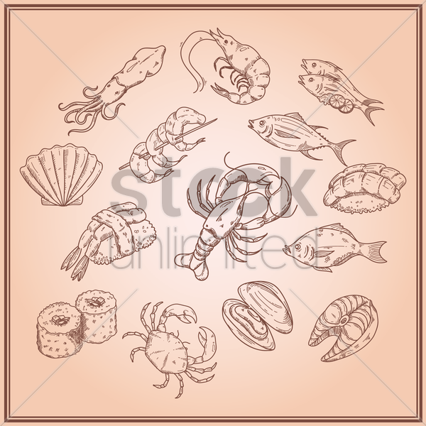 collection of seafood icons vector graphic