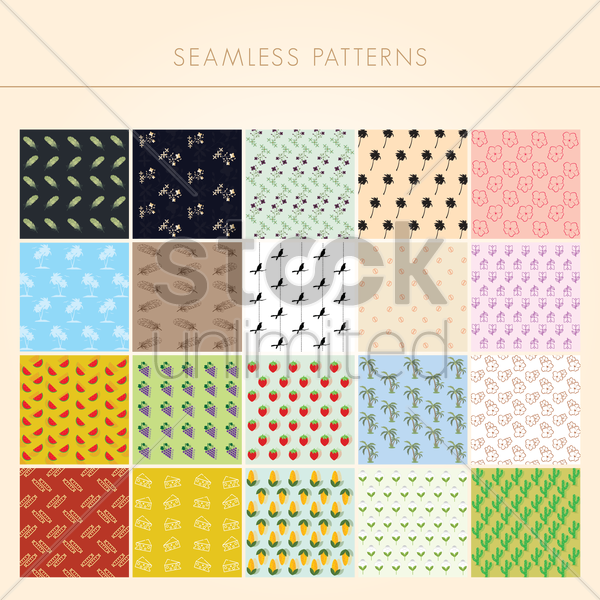 collection of seamless patterns vector graphic