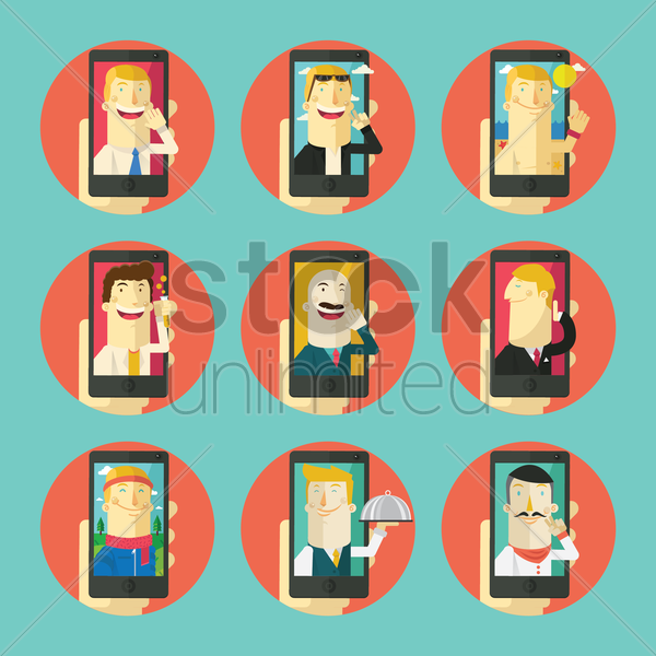 collection of selfie set vector graphic