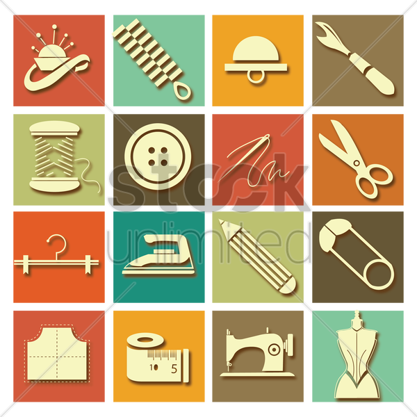 collection of sewing equipment vector graphic