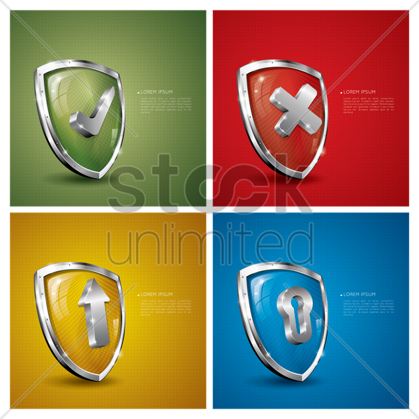collection of shield with sample text vector graphic
