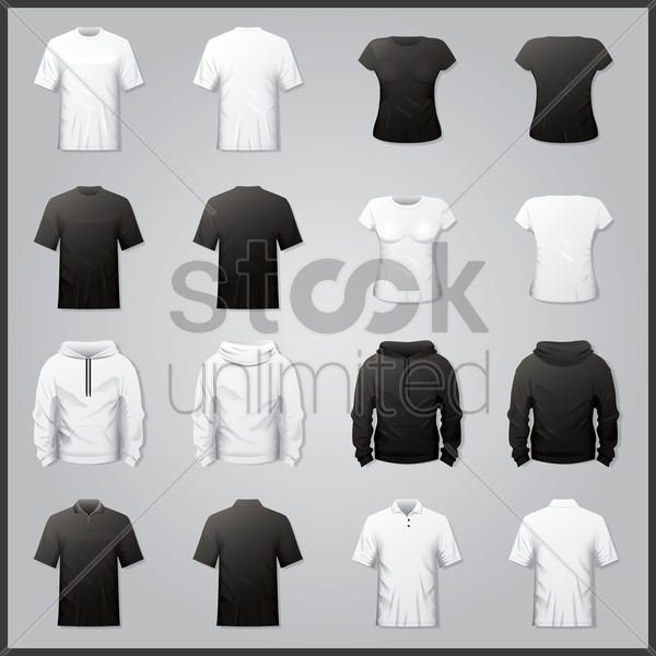 collection of shirts and hoodies vector graphic