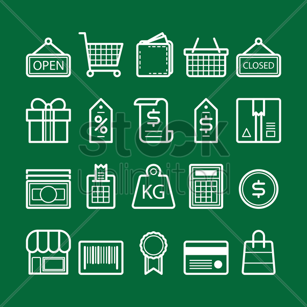 collection of shopping icons vector graphic