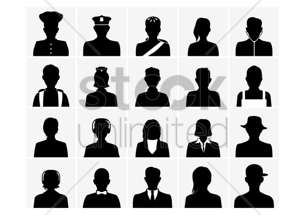 collection of silhouette people vector graphic