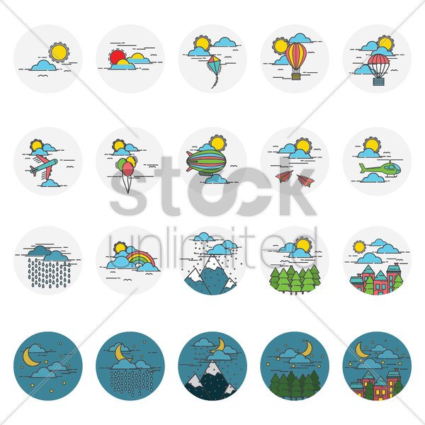 Free collection of sky icons vector graphic