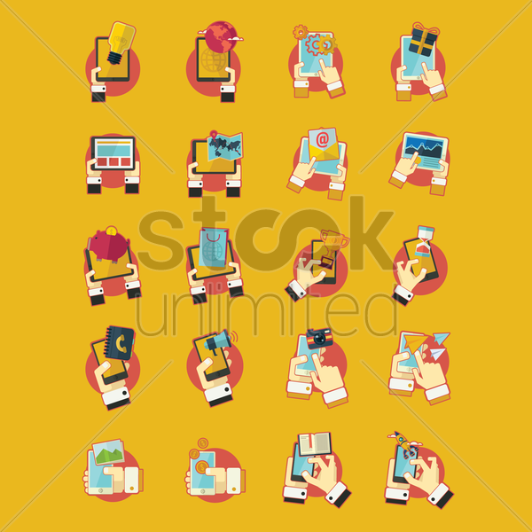 collection of smartphone technology icons vector graphic