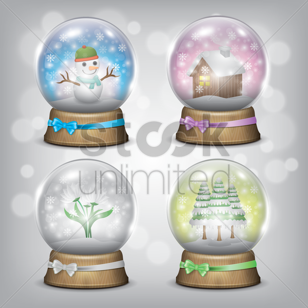 collection of snowglobes vector graphic