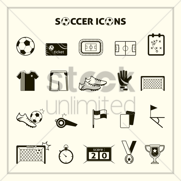 collection of soccer icons vector graphic