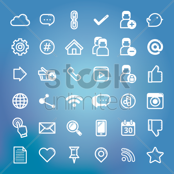 collection of social media icon vector graphic