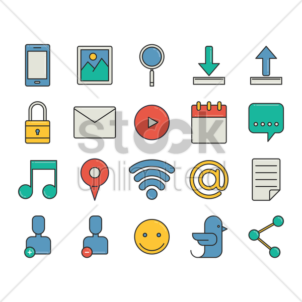 collection of social media icons vector graphic
