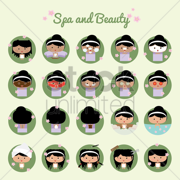 collection of spa and beauty vector graphic