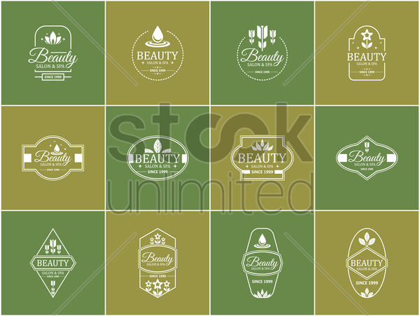 collection of spa and salon design vector graphic