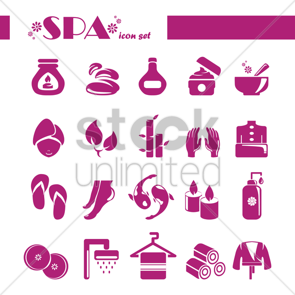 collection of spa icons vector graphic