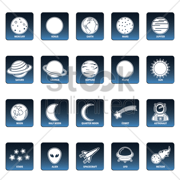 collection of space icons vector graphic