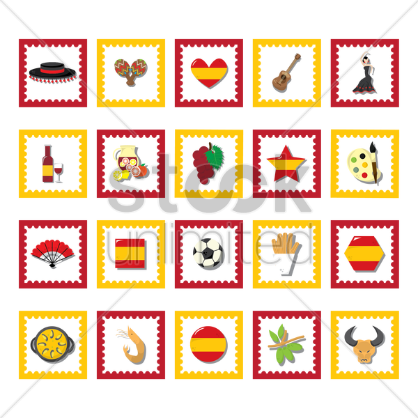 collection of spain icons vector graphic