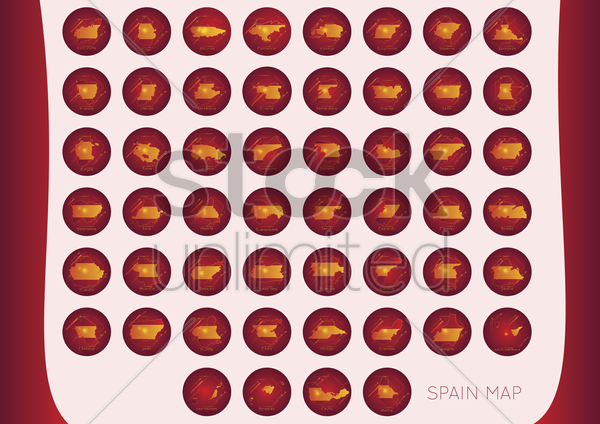 collection of spain provinces vector graphic