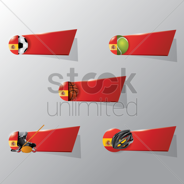 collection of spain sports banners vector graphic