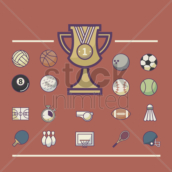 collection of sport icons vector graphic