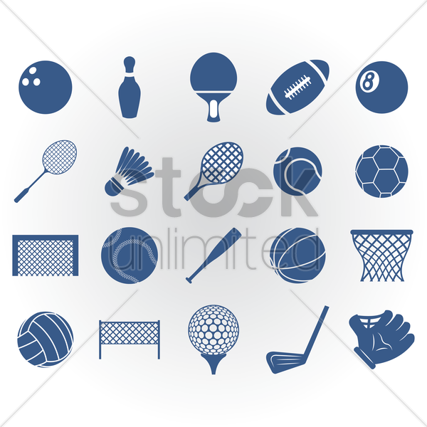 collection of sports equipment vector graphic
